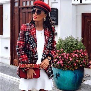 Zara checkered plaid tweed blazer